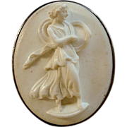 Victorian White Lava Cameo Brooch of Dancer with Tambourine