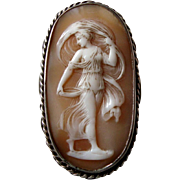 Antique Victorian Carved Shell Cameo of Vestal Virgin Tuccia in Silver Mount
