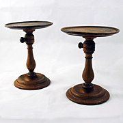 Pair of Turned Maple Adjustable Table Candle Stands