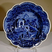 "19th Century Dark Blue Transfer Plate in ""Musketeer"" Pattern"