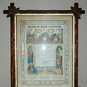 19th Century Record of Birth & Baptism in Crisscross Frame