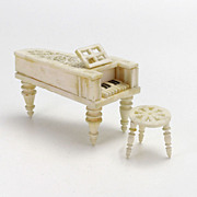 Antique Miniature Carved Bone Piano and Stool