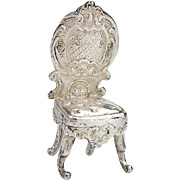 Antique Sterling Silver Miniature Chair by Mappin Co.
