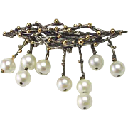 Modernistic Sterling Silver, Pearl and Gold Hand Made Brooch