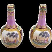 Wonderful Pair of Antique Royal Vienna Hand Painted Miniature Vases.