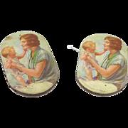 Pair of Vintage Advertising Paper Pincushions