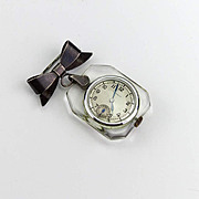 Antique Sterling Silver and Lucite Nurses Deco Pendant Watch