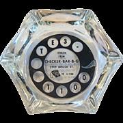 Telephone Dial Glass Ashtray Advertising Checker B-B-Q 1960's