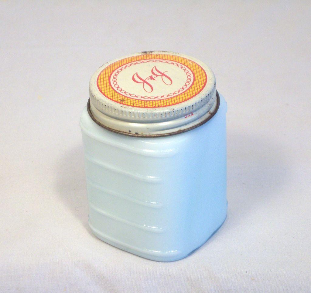 Vintage Johnson & Johnson White Milk Cosmetic Jar 1950's