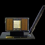 1960's Perpetual Desk Calendar and Pen Set with Green Granite Base
