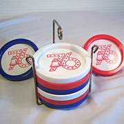 Red, White and Blue Bi-Centennial Coasters 9 pcs. Set  U.S.A 1976