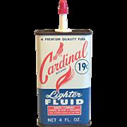 Cardinal Lighter Fluid Tin 4 OZ Circa 1960