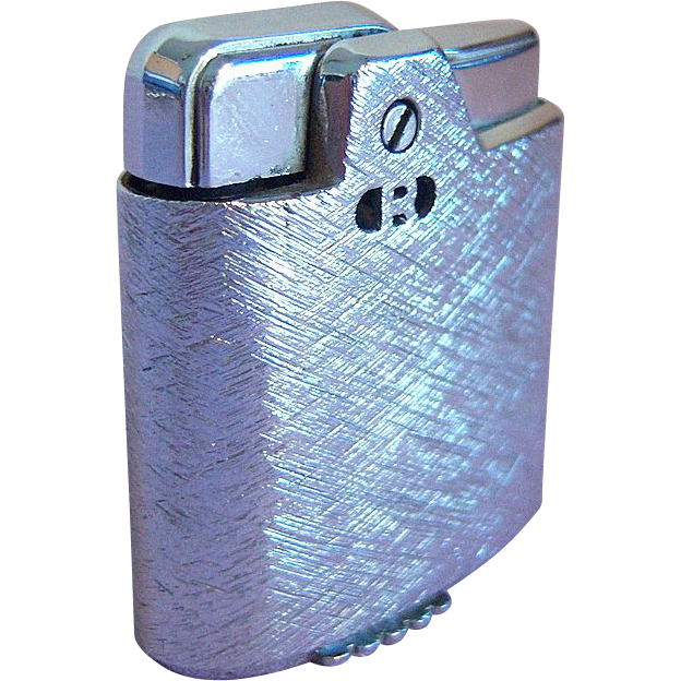 Ronson Petite Cigarette Lighter with Crackled Chrome Finish Circa 1955