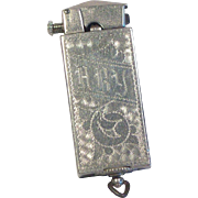 Ornate Silver Plated Lift-Arm Pocket Lighter 1920's