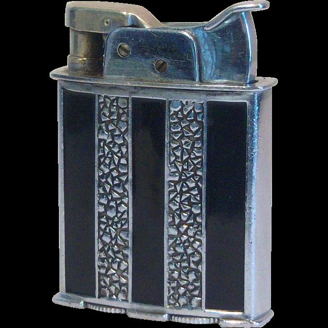 Rare EVANS Trig-A-Lite Pocket Lighter in Black Striped Enamel Ca1935