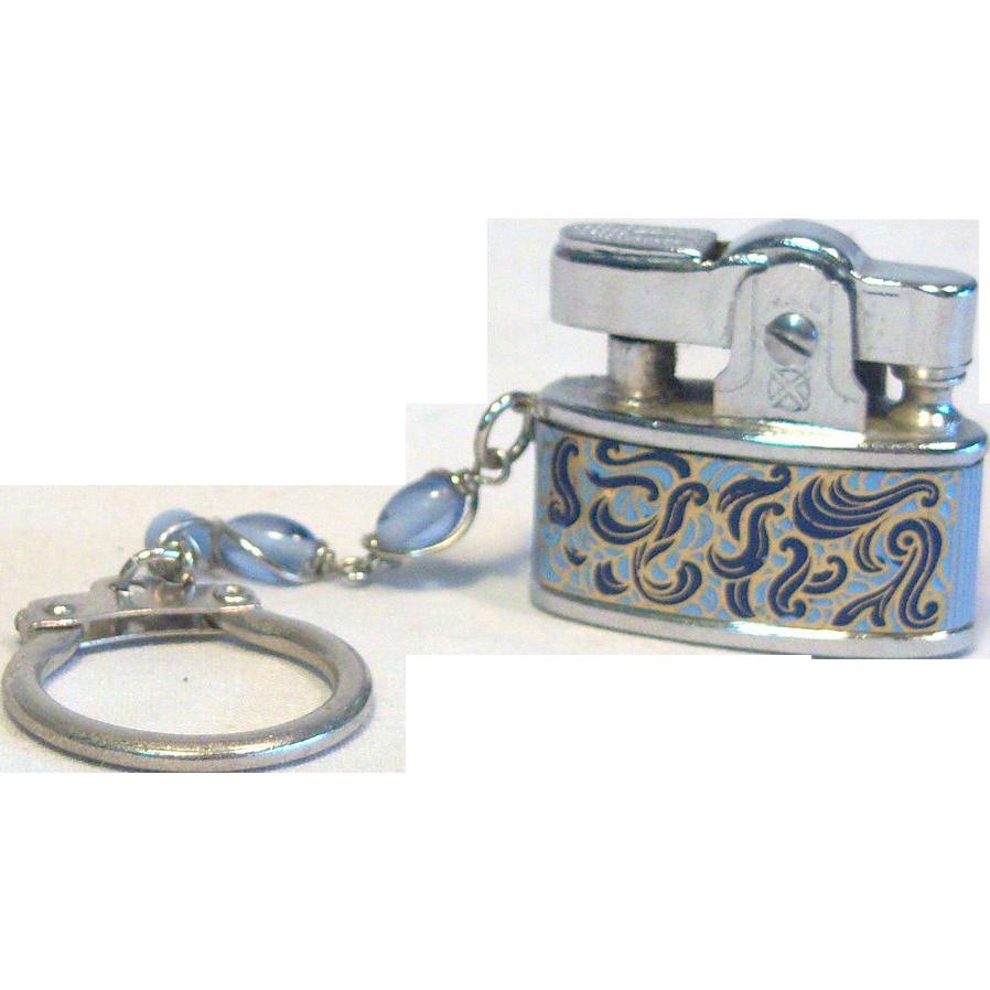 Hestia Keychain Lighter Baby Style Paisley Blue Japan1950's