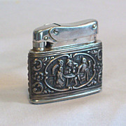 SOLD MYFLAM Pocket Lighter with Old Pub Scene Relief 1950's