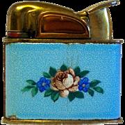 1950's Evans Petite Pocket Lighter in Blue Floral Enameled Pattern