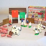 Vintage Plastic Toy  Hut MIB 33 Pieces Hong Kong Circa 1960's