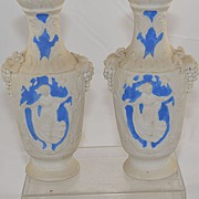 Pair of Antique Vases White with Greek Design and Grape Vines Blue Jasper Ware