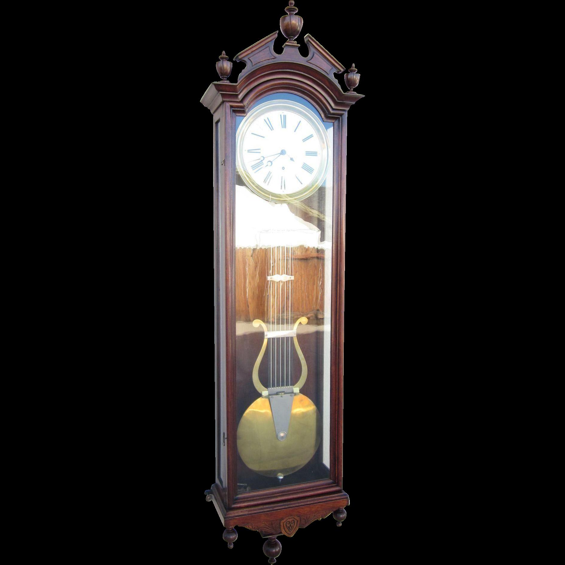 Massive Ansonia Jewelers Regulator Wall Clock No 4 In Walnut