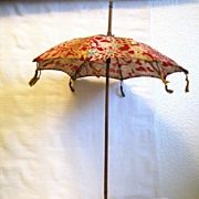 SOLD Antique tasseled Doll Parasol, bamboo handle