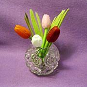SOLD Mini blown glass German tulips