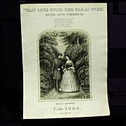"1864 Civil War Sheet Music ""Wait Love Until the War is Over"""