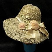 SOLD Vintage Rose Trimmed Straw Doll Hat