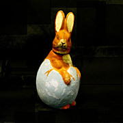 SOLD Old German Bunny/Cracked Egg  Candy Container