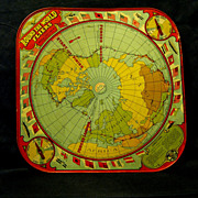 SOLD 1925 Tin Litho Game Board, Round the World Fliers, Wolverine