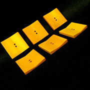 Square Butterscotch Bakelite Buttons, WW II