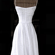 1950s Embroidered Organdy Bridal Dress