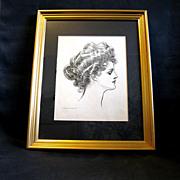 Framed Original 1903 Gibson Girl Portrait