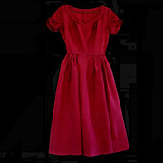 1940's Sweetheart Dress in Claret Taffeta