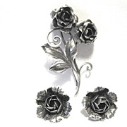 Sterling Pin and Earring Set from WWII