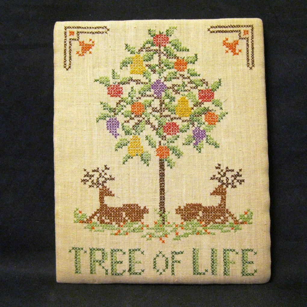 Vintage hand embroidered sampler tree of life from