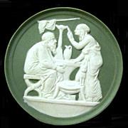 Antique Celadon Green Jasperware Wall Plaques, Greek Figures
