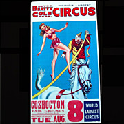 "1960s Clyde Beatty, Cole Circus Poster ""World's Largest Circus'"