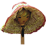 Dark Cerise Straw Poke Bonnet Doll Hat
