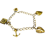 Small Victorian Gold filled Charm Bracelet, Puffy Hearts, Anchor