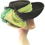 SOLD Large 1940's Tilt Hat with Bow, Pictorial Hat Box