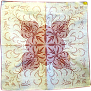 """Unused 17"""" Square Abstract Print Hanky, Kimball Label"""