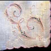 Large Unused Tagged Linen Cut-Work Handkerchief, Monogram 'E'