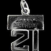 "Wells Sterling Silver Charm, Happy 21 Birthday"""
