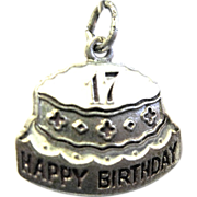 Sterling and Enameled Cake Charm Celebrates 17th Birthday