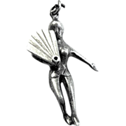 Mechanical Sterling Charm, Risque Semi-nude Burlesque Fan Dancer