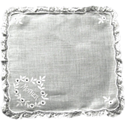 """Vintage Lace Edged Handkerchief Embroidered with """"Mother"""""""