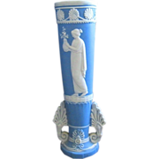 Blue and White Vintage Jasperware Vase with Classic figure