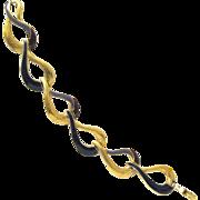 Signed Trifari Enamel and Gold Tone Link Bracelet